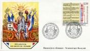 """ENV PJ De 1989 Avec Timbres Et Illust; """"Déclaration Des Droits De L'Homme - Articles XII à XVII"""" Oblit. PJ Versailles - FDC"""