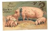 COCHON ET SES PETITS - Prosit Neujahr! - FER A CHEVAL - Carte Gaufrée Fantaisie - Cochons