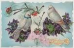 Carte  Fantaisie  SAINTE CATHERINE Ajoutis Colombes Et Fleurs Gaufrées  , Ruban Tissu Rose , Paillettes - Saint-Catherine's Day