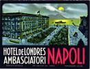 3 HOTEL LABELS ITALY ITALIE NAPOLI  NAPELS  NAPLES HOTEL de LONDRES  TERMINUS ALBERGIO VESUVIUS