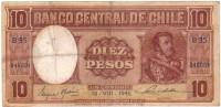 Diez Pesos - Date: 18.08.1943 -  Pick 103 - Cile