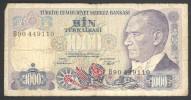 Billet Usé Turquie 1000 Lirasi - Turquie