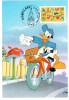 CPM DISNEYLAND PARIS JOYEUX ANNIVERSAIRE DONALD FACTEUR A VELO 1997 TIMBRE MAXIMUM 1 ER JOUR FLAMME - Disneyland