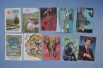 Set of 10 calendars USSR. Cirque. Golden Gate. Elephant. Les chimpanz�s. Raisins. Nature. Acteur.  38n