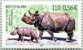 N° Yvert 2015 - Timbre D´Allemagne Fédérale (2001) - MNH - Rhinocéros Unicorne De L´Inde Avec Jeune (1) (JS) - [7] République Fédérale