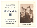 Petit calendrier de 1953 - Saumur, Le Ch�teau - Bijouterie Le Mans