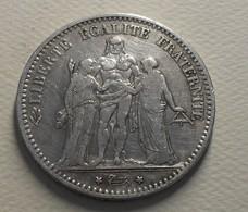 1874 - France - 5 FRANCS, HERCULE, (A), IIIè République, Argent, Silver, KM 820.1, Gad 745a - France
