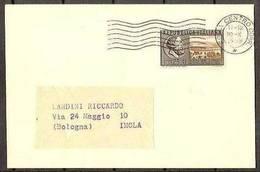1955 Italia Italy Repubblica STORIA POSTALE Busta L.25 (in Tariffa) Viaggiata Roma Imola Affr. 25L Giornate Mediche - 6. 1946-.. Repubblica