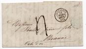 1858 - LETTRE De CHARLEROY Pour BEAUNE Avec CAHCET D'ENTREE BLEU BELG. VALENCIENNES 5 - 1861-78 Victor Emmanuel II.