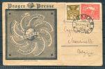 1921 Prague Praha 'ORBIS' Prager Presse Globe Illustrated Advertising Postcard - Belgium - Czechoslovakia