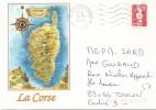 Marianne Du Bicentenaire - Timbre Sur Enveloppe Illustrée (57) La Corse - 1989-96 Marianna Del Bicentenario
