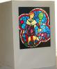 Vitraux De Notre Dame De Paris Rose Ouest Le Berger - Jolie Carte Deux Volets , Effet Vitrail - Bellas Artes