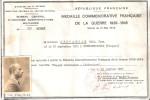 DIPLOME BREVET MEDAILLE COMMEMORATIVE GUERRE 1939 1945 BARETTE ENGAGE VOLONTAIRE  LIBERATION - 1939-45
