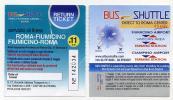 Ticket Roma Fiumicino Return ticket - Bus shuttle - Italie - Italy - Scan recto verso