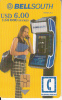 ECUADOR(chip) - Girl On BellSouth Cardphone, BellSouth Telecard, Chip GEM3.1, Exp.date 01/03/02, Used