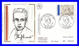 2681 (Yvert) Sur FDC Illustrée Sur Soie - Poètes Français Du 20ème Siécle. Paul Éluard - France 1991 - FDC