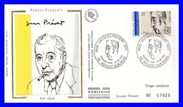 2685 (Yvert) Sur FDC Illustrée Sur Soie - Poètes Français Du 20ème Siécle. Jacques Prévert - France 1991 - FDC