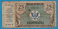 USA 25 Cents ND (1948) P# M17 MILITARY PAYMENT CERTIFICAT Serie# 472 - Military Payment Certificates (1946-1973)