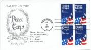 """DR-L13 - ETATS-UNIS N° 945 """"Corps De La Paix"""" Drapeau En Bloc De 4 Sur FDC Pour La Suisse - First Day Covers (FDCs)"""