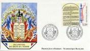 """ENV PJ De 1989 Avec Timbres Et Illust; """"Déclaration Des Droits De L'Homme - Articles VII à XI"""" Oblit. PJ Versailles - FDC"""