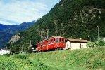 008-729) Dia (color Slide) Schweiz FM_Seft - RhB BDe 4/4 491 Mit Extra-GmP - Trains