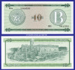 1985  CUBA  FOREIGN EXCHANGE NOTE  10 PESOS SERIES B  KRAUSE FX 8 UNC. CONDITION - Cuba
