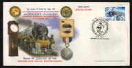India  2004  Clockk  Train  Medal Elephant Gaurd Cancellation  Calcutta  Special Cover  # 87184  Inde Indien - Eisenbahnen