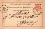 LEVANT AUTRICHIEN ENTIER POSTAL CONSTANTINOPEL POUR LA GRECE 1898 - Oostenrijkse Levant