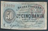 ITALY  ITALIA ITALIEN ITALIE      1870  50 CENTESIMI BANCA TOSCANA ANTI SCONTO  RAR - [ 5] Schatzamt