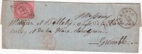 LETTRE . 1870 ITALIE PINEROLO ENTRÉE ROUGE ITALIE St MICHEL  PD 40c POUR GRENOBLE / 907 - Postmark Collection (Covers)