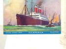 "Cpa Peinte Bateau ""S.S America "" United States Lines Construit à Belfast 1905 - Commerce"