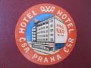 HOTEL MOTEL PENSION INN AXA PRAHA PRAGUE CSR CSSR CZECH CHEKOSLOVAKIA LUGGAGE LABEL ETIQUETTE AUFKLEBER DECAL STICKER - Hotel Labels