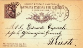 """Postkarte 1879 Filagrano C 7/- Von """"CASALBUTTANO"""" Nach """"TRIEST / TRIESTE"""" / Österreich (s019) - 1878-00 Umberto I"""