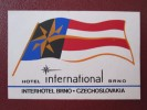 HOTEL  MOTEL INTERNATIONAL INTERHOTEL BRNO CSR CSSR CZECH CHEKOSLOVAKIA LUGGAGE LABEL ETIQUETTE AUFKLEBER DECAL STICKER - Hotel Labels