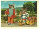 Fantaisie - Vrais Chats Habillés De Vêtements (montage) - Chatte Robe Bleue , Chat En Pull Over Tricoté - CPSM LYNA - Cats