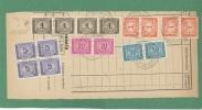 TASSE RUOTA QUQRTINA L.5 + L.4 STRISCIA DI 4 + ALTRI SU TASSAZIONE COMULATIVA  DI L.180  - MODENA 22/6/1949 - Storia Postale