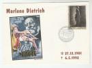 1992 France MARLENE DIETRICH EVENT COVER Movie Cinema Film  Stamps - Cinema