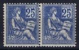 France: Yn Nr 114 MH/*, Paire Avec  Charnière , Mit Falz,  Signed/ Signé