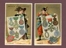 Savon Métropole, Lot De 2 Chromos, Lith. Courbe Rouzet, Thème Militaria, Médailles, Pays, Italie, France - Chromos