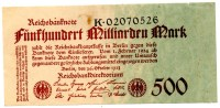 500 Milliarden Mark 1924 - [ 3] 1918-1933 : Weimar Republic