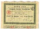 Titre Au Porteur, Action - Société Civile - Compagnie Générale Transatlantique 1910  ( Fr29) - Actions & Titres