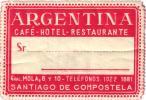 14 HOTEL Labels ARGENTINA Mendoza Mar Del Plata San Carlos Rosario Mendoza Santiago De Compostela Buenos Aires - Hotel Labels