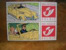 Vignette Tintin, Milou, Haddock En Voiture + 2 Vignettes Attenantes. Erinnophilie. - Autres