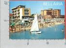 CARTOLINA VG ITALIA - BELLARIA (RN) - Alberghi E Spiaggia Visti Dal Mare - 10 X 15 - ANNULLO 19?? - Rimini