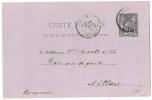PARIS DEPART  Sur Entier SAGE. L2 - 1876-1898 Sage (Type II)