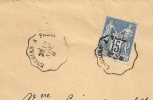 Convoyeur De Ligne ENGHIEN A PARIS Sur Enveloppe SAGE. L2 - 1876-1898 Sage (Type II)
