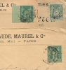 TARIF FACTURE, 5c SAGE, IMPRIMS PARIS P.P Sur 3 Enveloppes SAGE. - 1876-1898 Sage (Type II)