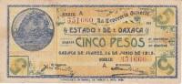 BILLETE DE MEXICO DE 5 PESOS DEL ESTADO DE OAXACA DEL 26 DE JUNIO DEL 1915   (BANKNOTE) RARO - México