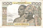 West African States - Pick 103A  - 1000 Francs 1959/65 - F+ - Stati Dell'Africa Occidentale