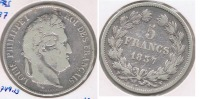 FRANCIA FRANCE 5 FRANCS LOUIS PHILIPPE 1837 W PLATA SILVER  V - J. 5 Francos